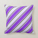 [ Thumbnail: Lavender, Purple, and Green Colored Pattern Pillow ]
