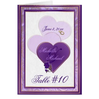 Lavender Purple and Lace Wedding Table Number Card