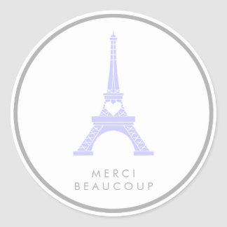 Lavender Purple and Silver Eiffel Tower Thank You Classic Round Sticker
