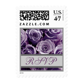 Lavender Purple and Silver Wedding RSVP Roses Stamp