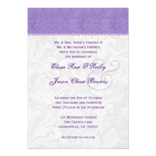 Silver And Purple Blank Invitations: Lavender Purple And Silver Wedding Template 5x7 Paper