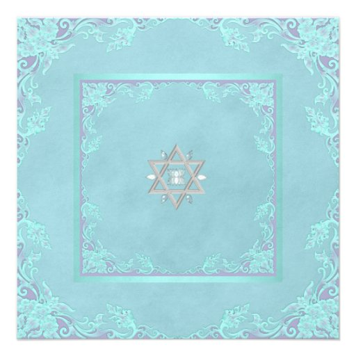 Lavender Purple and Teal Blue Bat Mitzvah Personalized Invitation