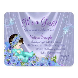 Lavender Purple and Teal Blue Floral Baby Shower Card