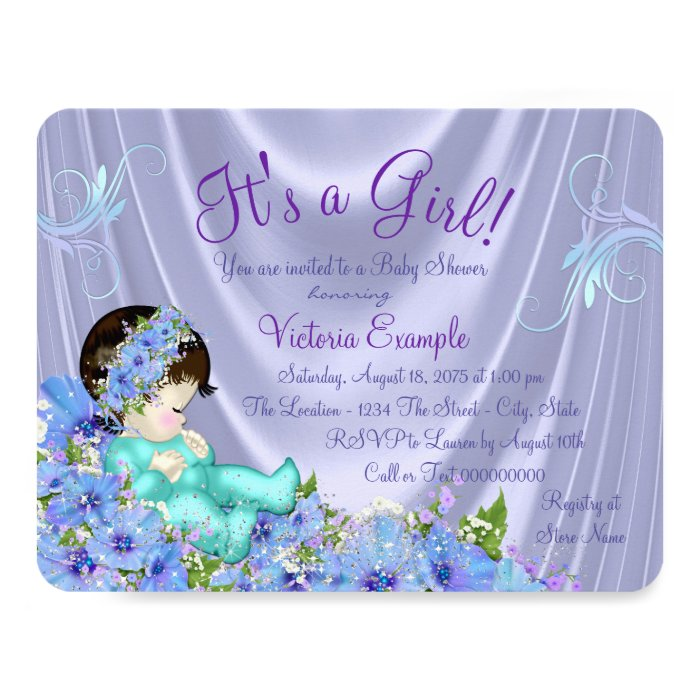 lavender purple and teal blue floral baby shower card zazzle