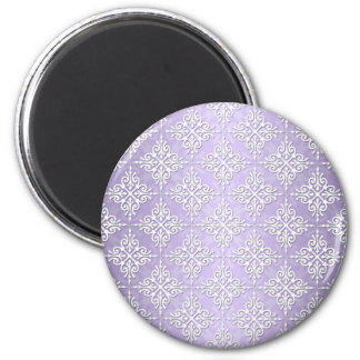 Lavender Purple and White Damask 2 Inch Round Magnet