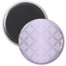 Lavender Purple and White Damask Magnet