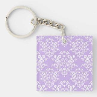 Lavender Purple and White Damask Pattern Keychain