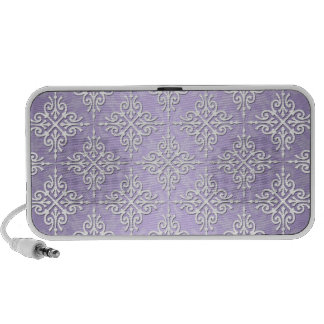 Lavender Purple and White Damask Mp3 Speaker