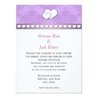 Lavender Purple and White Damask Wedding Reception Card