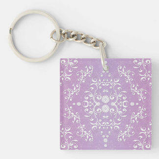 Lavender Purple and White Floral Damask Single-Sided Square Acrylic Keychain