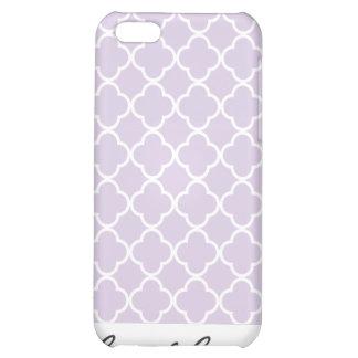 Lavender purple and White Quatrefoil Pattern Case For iPhone 5C