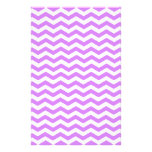 Lavender Purple And White Zigzag Chevron Pattern Stationery