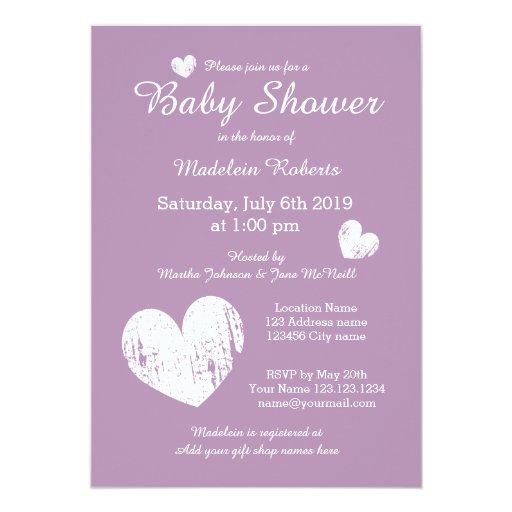 lavender purple baby shower invitations for girl zazzle