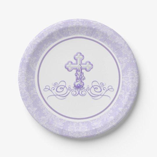 Lavender Purple Baptism Paper Plates  sc 1 st  Zazzle & Lavender Purple Baptism Paper Plates | Zazzle.com