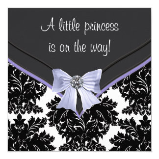 Lavender Purple Black Damask Bow Baby Shower Card