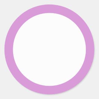 Lavender purple border blank round sticker
