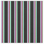 [ Thumbnail: Lavender, Purple, Brown, Aquamarine & Black Lines Fabric ]