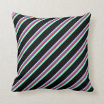 [ Thumbnail: Lavender, Purple, Brown, Aquamarine & Black Lines Throw Pillow ]