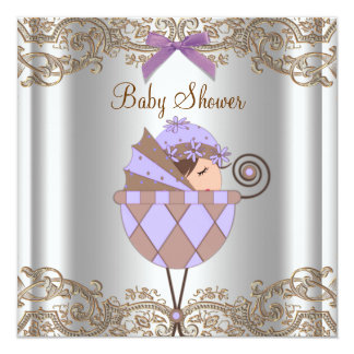 Lavender Purple Brown Lace Girl Baby Shower Card