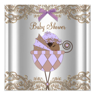 Lavender Purple Brown Lace Girl Baby Shower Personalized Invitations