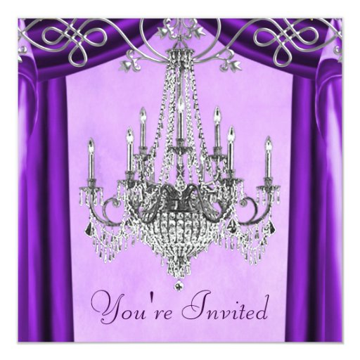 Lavender Purple Chandelier Party Invitations