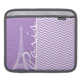Lavender Purple Chevron Stripes; Paris iPad Sleeve