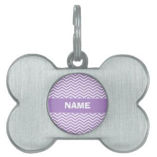 Lavender Purple Chevron Stripes Pet ID Tag