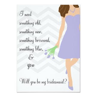 Lavender Purple Chevron Will You Be My Bridesmaid 4.5x6.25 Paper Invitation Card