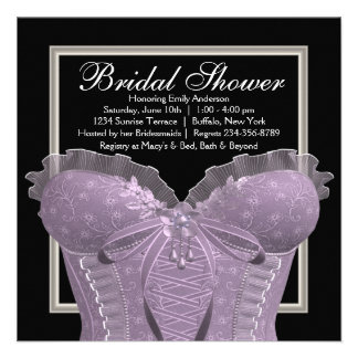 Lavender Purple Corset Bridal Shower Custom Announcement