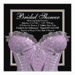 """Lavender Purple Corset Bridal Shower 5.25"""" Square Invitation Card"""