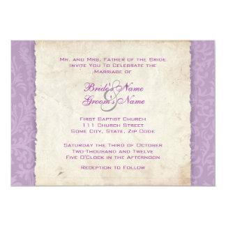 """Lavender Purple Country Wedding Invitation 5"""" X 7"""" Invitation Card"""