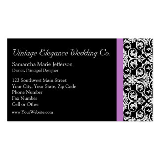Lavender Purple Damask Black/White Business Card Templates