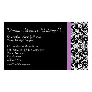 Lavender Purple Damask Black/White Business Card Templates