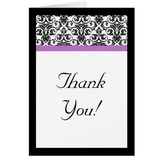 Lavender Purple Damask Black/White Card