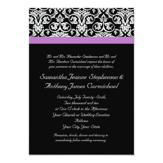Lavender Purple Damask Black/White Card