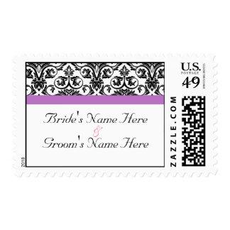 Lavender Purple Damask Black/White Postage