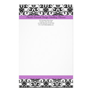 Lavender Purple Damask Black/White Custom Stationery