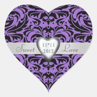 Lavender Purple Damask Candy Buffet Heart Sticker