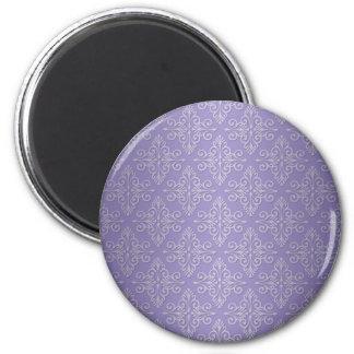 Lavender Purple Damask Pattern 2 Inch Round Magnet