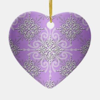 Lavender Purple Damask Pattern Ceramic Ornament