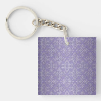 Lavender Purple Damask Pattern Square Acrylic Key Chain