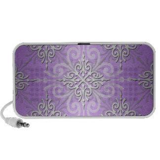 Lavender Purple Damask Pattern Travelling Speaker