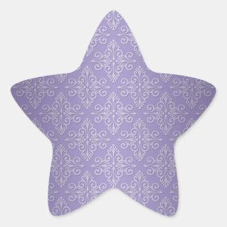 Lavender Purple Damask Pattern Star Sticker