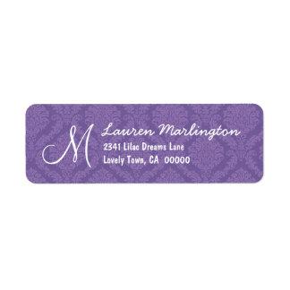 Lavender Purple Damask Wedding R675 Labels