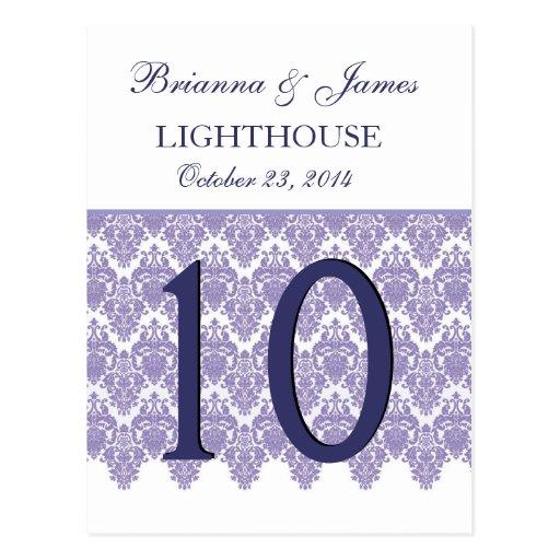 Lavender Purple Damask  Wedding Table Number Card Post Cards