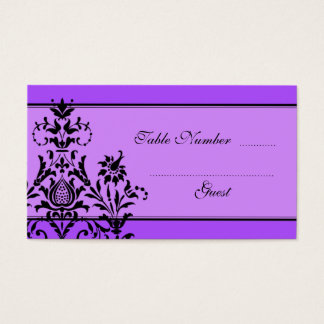 Lavender & Purple Damask Wedding Table Place Cards