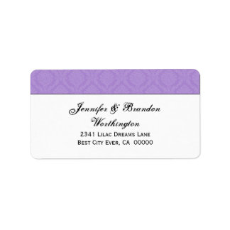 Lavender Purple Diamond Damask Wedding Collection Label