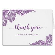 Lavender Purple Elegant Lace Floral Thank You