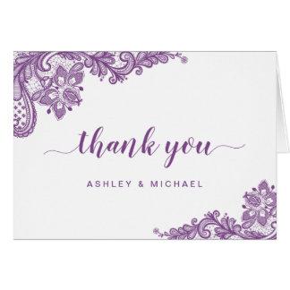 Lavender Purple Elegant Lace Floral Thank You Card