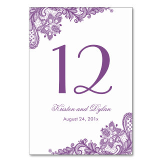 Lavender Purple Elegant Lace Wedding Table Number Card
